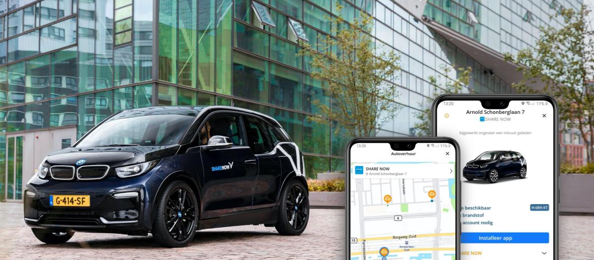 Vind alle elektrische deelauto's van Share Now via Gaiyo