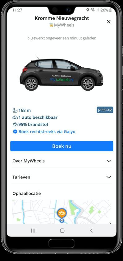 Plan, boek, betaal en parkeer je deelauto met Gaiyo